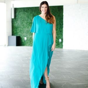 Full length one-shoulder dress